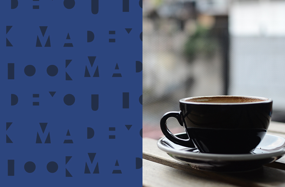 Close-up of silhouetted coffee cup and saucer on table, text box saying