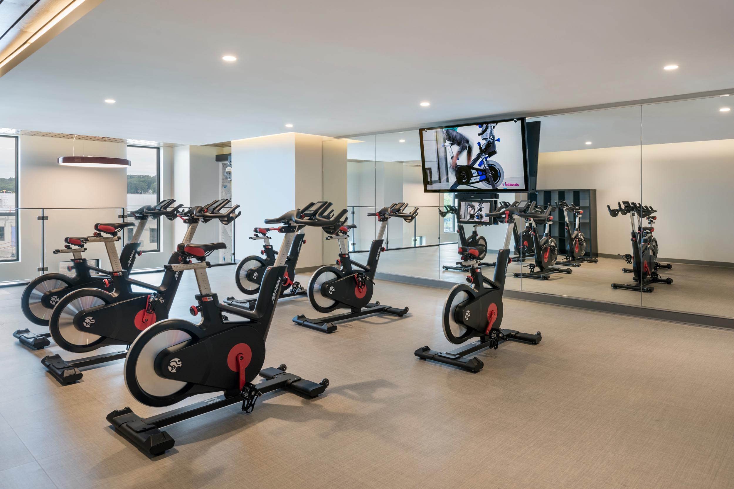 Studio in the fitness center of The Kendrick with indoor cycles
